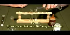 Iodine test for the presence of starch