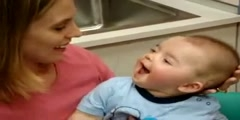 Deaf Baby's Reaction To Cochlear Implant