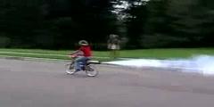Girl on a rocket bike